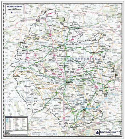 Herefordshire County Wall Map